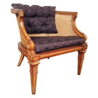 Caned and Upholstered Barrel Back Lounge Chair