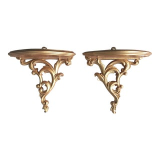 Set of 2 Gold Roccoco Decorative Wall Brackets Shelf