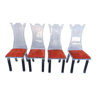 Vintage Scalloped Back Lucite Dining Chairs - Set of 4