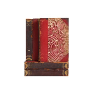 Distressed Leather Biography Books- Set of 4