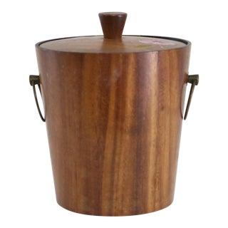Mid-Century Wood Ice Bucket With Lid