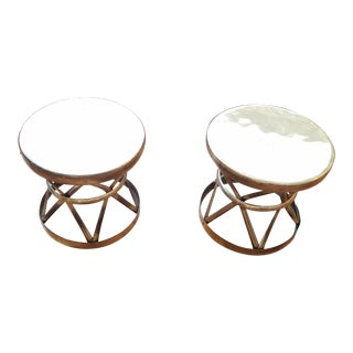 Mid-Century Round Brass Side Tables- A Pair