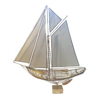 Mid-Century Curtis Jere Sail Boat on Marble