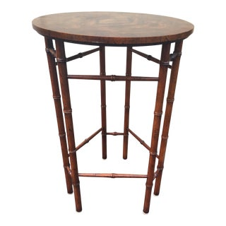 Faux Bamboo and Burled Wood Side Table