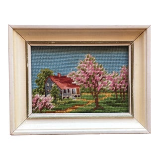 Vintage Hand Sewn Framed Needlepoint Art