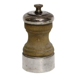 Sterling Silver & Wood Vintage Pepper Mill