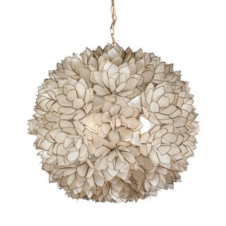 Globe Capiz Shell Chandelier, French 1960s