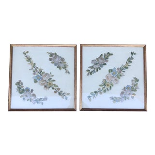 Antique Flower Embroidered Wall Hangings - A Pair