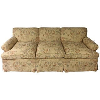 English Sofa, Manner of George Smith, Custom Upholstered in Bennison Linen