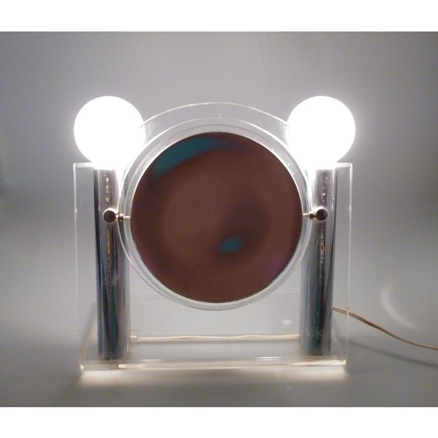 vintage chrome and lucite vanity mirror with light chairish. Black Bedroom Furniture Sets. Home Design Ideas