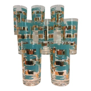 Set of 8 Mid Century Vintage Turquouse and Gold Brush Stroke Highball Tumbler Glasses