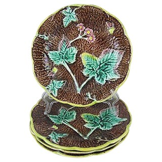 Rustic English Majolica Leaf Plates - Set of Four