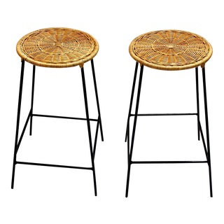 Wicker & Metal Bar Stools, Arthur Umanoff Style - A Pair