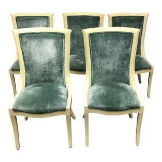 1930's Bone Inlaid & Velvet Chairs - Set of 5