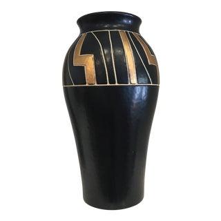 Vintage Black Ceramic Urn