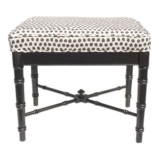 Thomasville Faux Bamboo Ottoman With New Scalamandré Fabric