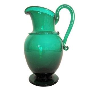 Emerald Green Art Glass Urn Pitcher Vase