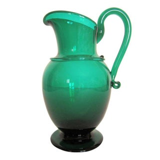 Emerald Green Art Glass Pitcher Vase