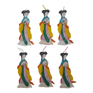Vintage Chinoiserie Satin Geisha Girl Ornaments - Set of 6