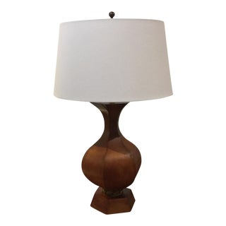 Mid-Century Large Wood Sculptural Lamp