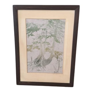 Framed Trees Block Print by Gwen Frostic