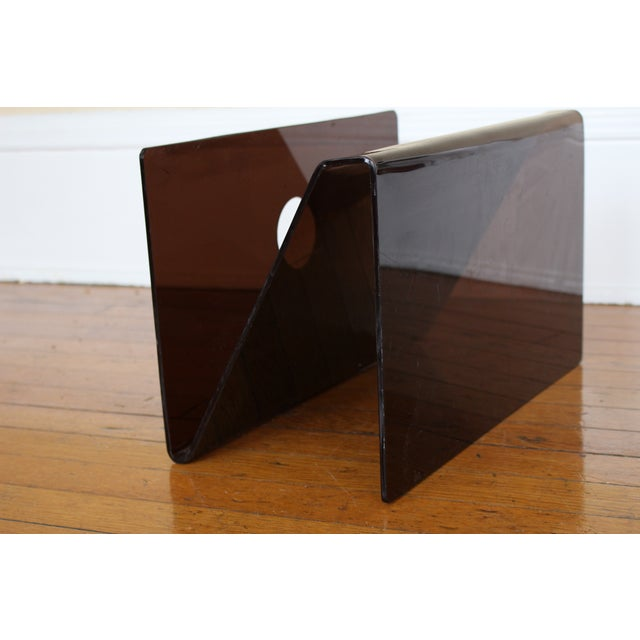 Mid Century Smoked Lucite Magazine Rack - Image 5 of 5