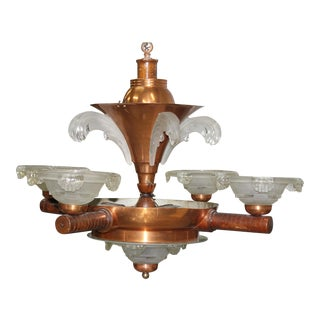 French Art Deco Chandelier by Ezan Glass and Copper, Circa 1930s