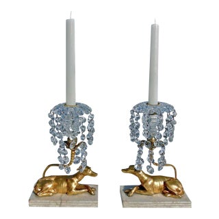 Pair Of Regency Period Greyhound Form Neoclassical Candelabra