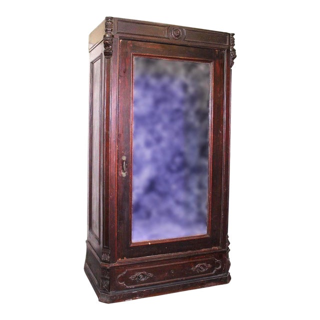 Antique Victorian American Mirrored Armoire - Image 1 of 10