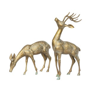 Large Solid Brass Deer Figures - a Pair