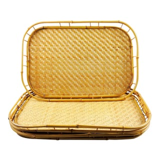 Woven Bamboo Tiki Trays - Set of 4