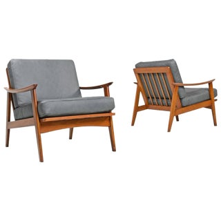 Mid Century Modern Gray Leather Arm Chairs - A Pair