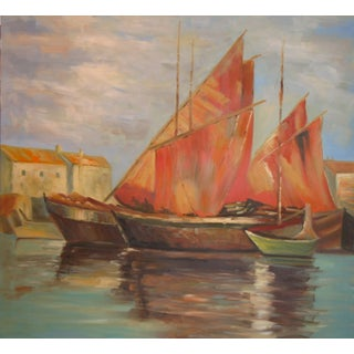 Sail Boats Off the Coast Line Painting