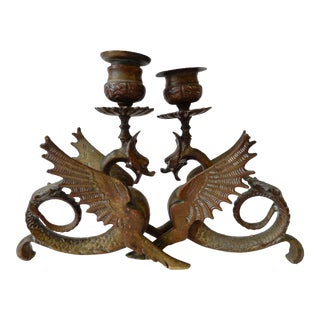 French Gothic Gargoyle Candle Holders - A Pair