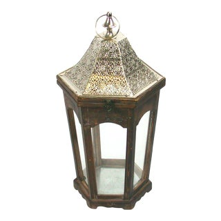 Rustic Bohemian Candle Lantern with Metal Roof