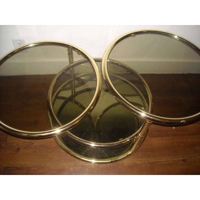Mid-Century Brass Swivel Tiered Coffee Table Round