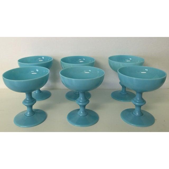 Aqua Antique Opaline Champagne Glasses - Set of 6 - Image 2 of 4