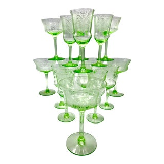 Antique Etched Bell Bowl Green Uranium Glass Stemware Service for 8 - 16 Pieces