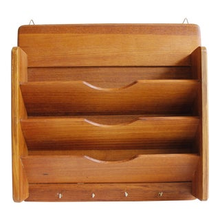 Vintage Good Wood Teak Mail Holder Key Rack Organizer