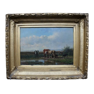 Old Master Painting, Cows Grazing by Simon Berg