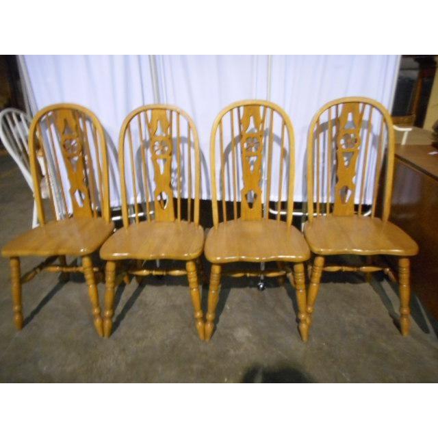 Windsor Oak Dining Room Chairs Wagon Wheel - Set 4 | Chairish