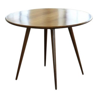 Solid Round Walnut Center or Breakfast Table with Double Beveled Tabletop