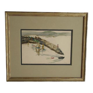Original Signed Watercolor- New England Coastal View-Listed American Artist