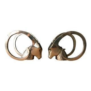 Vintage Brass Antelope Gazelle Bookend Sculptures - A Pair