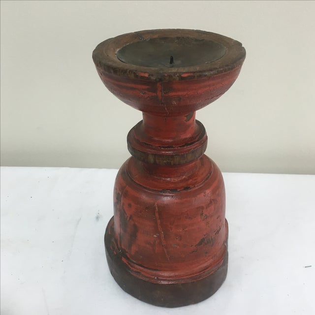 Image of Painted Capital Candle Holder