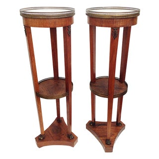 French Pedestal Marble Top Stands - Pair