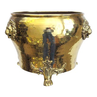 A Rare Imperial Russian Hand-Hammered Brass Jardiniere w/Lion Head Mounts