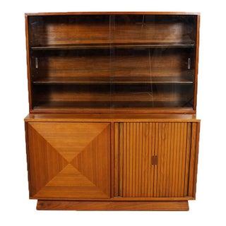 1950s Walnut Tambour Door Diamond Front Cabinet
