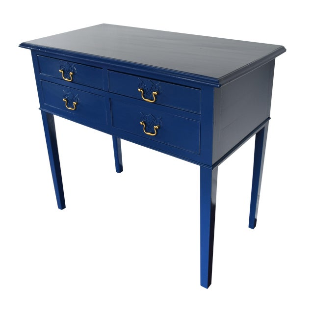 blue entryway console table chairish. Black Bedroom Furniture Sets. Home Design Ideas