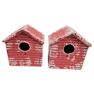 Portuguese Terracotta Birdhouses - A Pair